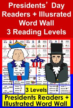 Presidents' Day Readers and Illustrated Word Wall - 3 Reading Levels First Grade Activities, Teaching Activities, Teaching Resources, Teaching Ideas, Holiday Activities For Kids, Illustrated Words, Classroom Hacks, Vocabulary Cards, Different Holidays