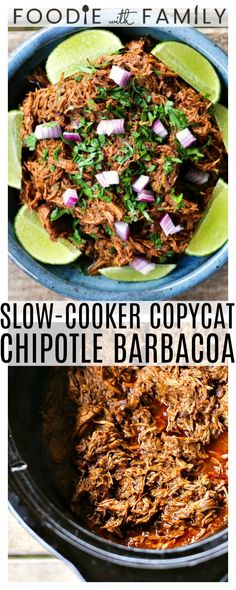 Use your crockpot to make Slow-Cooker Copycat Chipotle Barbacoa {Mexican Barbecue Shredded Beef} Garlicky tender shredded beef braised low and slow in a spicy smoky flavourful barbecue sauce for flavourful versatile meals! Chipotle Barbacoa Recipe, Chipotle Copycat Recipes, Salsa Barbacoa, Beef Barbacoa, Shredded Beef Recipes, Mexican Shredded Beef, Slow Cooker Barbacoa, Slow Cooker Beef Tacos, Slow Cooker Shredded Beef