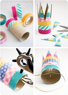 simple birthday crown with washi tape Kids Crafts, Tape Crafts, Diy And Crafts, Arts And Crafts, Crown Crafts, Diy Y Manualidades, Toilet Paper Roll Crafts, Diy Birthday, Birthday Crowns