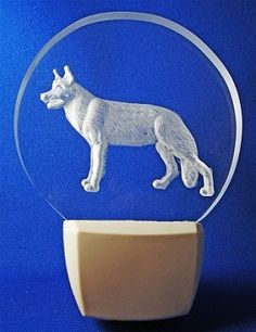 This is an LED lit night light, hand carving of a German Shepherd. Customize it with your dog's name!