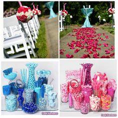 Hot Pink and Blue Wedding on http://itsabrideslife.com