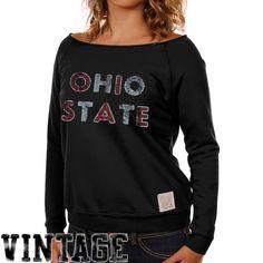 Original Retro Brand Ohio State Buckeyes Women's Black Open Neck Raglan Fleece Sweatshirt - $19.99