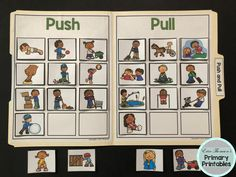 Science File Folder Activity ~ Push and Pull File Folder Activities, Teaching Activities, Teaching Science, Science For Kids, 1st Grade Science, Elementary Science, Elementary Schools, Science Worksheets, Science Lessons
