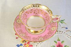 Mismatched Pink Royal Stafford cup and saucer