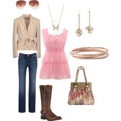Love the pink top and the purse