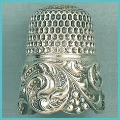 Antique Rococo Scrolling Band Sterling Thimble, circa 1890s