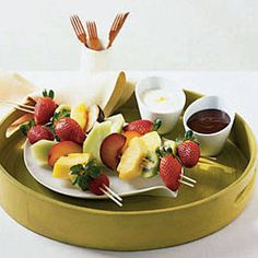 Instead of traditional fruit salad, have a little fun and serve chunks of pineapple, strawberries, plums, kiwis and melon on skewers instead. For an even sweeter twist, serve alongside creamy chocolate and orange sauces. Taking them to go? Pack the sauces in airtight containers. Recipe: Fruit Kebabs with Two Sauces   - Delish.com