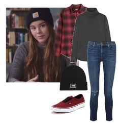 """""""Eva Mohn Skam"""" by moonlightselly ❤ liked on Polyvore featuring Uniqlo, J Brand and Vans"""