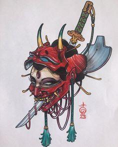katana tattoo on InspirationdeYou can find Japanese tattoos and more on our website.katana tattoo on Inspirationde Oni Tattoo, Irezumi Tattoos, Samurai Tattoo, Hannya Maske Tattoo, Tatuajes Irezumi, Hanya Tattoo, Mantis Tattoo, Japanese Mask Tattoo, Japanese Tattoo Designs
