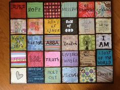 scrapbooking on canvas | Names of God/ scrapbook paper on painted canvas by HeartBecky