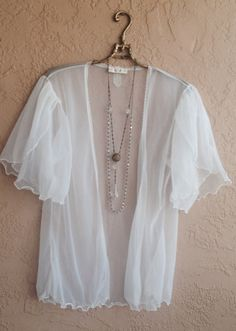 Tulle Lace White sheer romantic bed jacket or tie top for summer beach or french lingerie gypsy bohemian hippie girl on Etsy, 26,59€