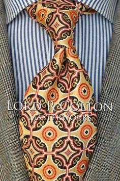 Lord R Colton Masterworks Tie - Isla Negra Gold & Black Silk Necktie - $195 New #LordRColton #NeckTie
