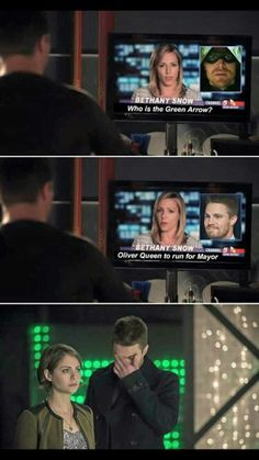 Does it seriously not ring a bell? Who is the Green Arrow? Oliver Queen to run for Mayor. Superhero Shows, Superhero Memes, The Cw Shows, Dc Tv Shows, Team Arrow, Arrow Tv, Arrow Quote, Supergirl Dc, Supergirl And Flash