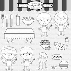 Backyard BBQ Stamps for your paper craft projects.