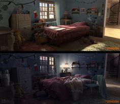 Division Trailer- Bedroom - Day/Night by .One Pixel Brush . on ArtStation. Environment Concept, Environment Design, Casa Anime, Episode Backgrounds, Artist Bedroom, Color Script, Animation Background, Visual Development, Environmental Art