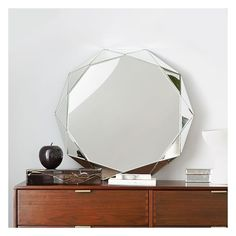 West Elm West Elm Faceted Mirror, 10 Sides - Wall Mirrors - Hanging... ($299) ❤ liked on Polyvore featuring home, home decor, mirrors, faceted wall mirror, west elm, flower mirror, eglomise mirror and faceted mirror
