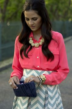 love the chunky jewelry with a simple chevron skirt. Lots of uses for this outfit. Looks Style, Style Me, Chevron Skirt, Grey Chevron, Army Shirts, Classy And Fabulous, Swagg, Playing Dress Up, Dress Me Up