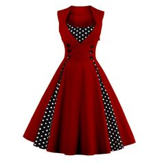 Retro Button Embellished Polka Dot Dress (WINE RED,4XL) in Vintage Dresses | DressLily.com