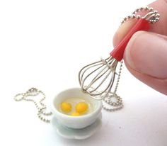 """The Bakers Necklace """" Let's Make Cupcakes"""" Miniature whisk charm and White Ceramic Mixing Bowl with Egges graet gift for bakers"""