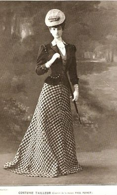 This Design by Paul Poiret was in an advertisement for Costume Tailleur in the Journal Femina dated 1906, before the Parisian oriental flamboyant craze arrived instigated by Leon Bakst's costumes for the the Ballet Russes in 1910.