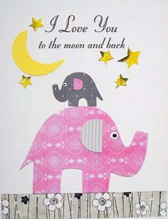 I Love You to the moon and back, Elephant - Kids Wall Art Baby Girl Room Decor Children's Art by vtdesigns, $14.00