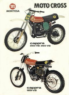 1978 Original Brochure - Montesa Cappra 250 VB, 360 VB plus Cappra 125 VB photos & specs Enduro Vintage, Vintage Motocross, Vintage Bikes, Bike Poster, Motorcycle Posters, Motorcycle Bike, Mx Bikes, Motocross Bikes, Cool Bikes