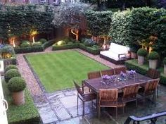 Rectangle lawn and vertical gravel paths elongate wide garden