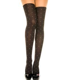 Black & White Polka Dot Thigh-High Stockings