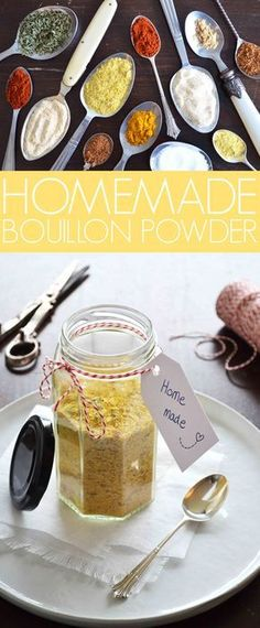 A recipe for homemade bouillon powder. Done within 5 minutes and without all the nasty additives that you'll normally find in bouillon powders or stock cubes. Recipe by That Healthy Kitchen Homemade Spices, Homemade Seasonings, Homemade Seasoned Salt, Boullion Recipe, Bouillon Powder Recipe, Onion Powder Recipe, Chicken Bouillon Recipe, Spice Rub, Spice Mixes