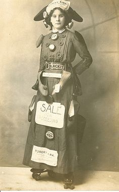 Advertising Post card woman in rollerskates vintage photo