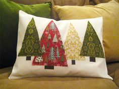 green triangle fabric trees on pillow