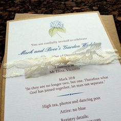 Handmade, one of a kind: Lace Hydrangea Wedding Invitation by EpochDes on Etsy, $2.40