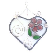 Stained glass heart suncatcher beveled pink by Nostalgianmore, $25.00