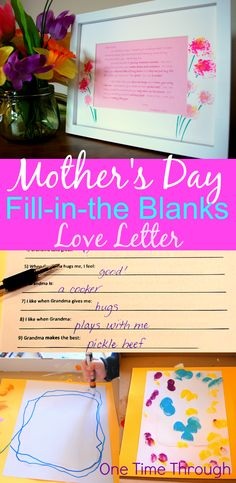Help your toddler or preschooler write a love letter to mom or grandma this Mother's Day with this fill-in-the-blanks interview. Includes FREE printable letter to frame for a memorable, personalized gift moms will treasure always! {One Time Through}