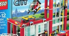 LEGO City Fire Station 60004 It's a peaceful day in the LEGO® City Fire Station. The fire chief sips his coffee in his office while a firefighter Lego City Fire Station, Nerf, Lego For Sale, Lego Fire, Numbers For Kids, City Model, Mattel, Into The Fire, Walmart