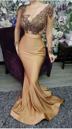 May 2020 - Long Sleeve Mermaid Prom Dress See Through Appliques Beaded Satin Plus Size Formal Evening Dresses Party Gowns Formal Evening Dresses, Elegant Dresses, Evening Gowns, Beautiful Dresses, Dress Formal, Elegant Gold Dress, Mermaid Prom Dresses, Bridesmaid Dresses, Maxi Dresses