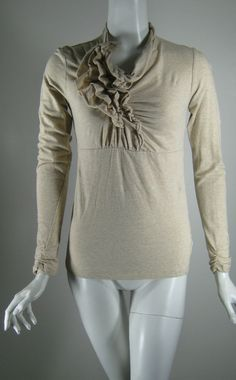 CABI Oatmeal Ruffled Front Long Sleeve Top Blouse Size Small #Cabi #Blouse