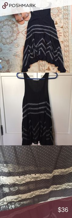 Free People Voile & Lace Trapeze Dress Black XS A Free People black and gray slip dress. Size XS. Makes a great swimsuit coverup or overdress. Free People Dresses Mini