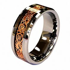 18K Rose Gold Plated Celtic Dragon 8mm Tungsten Carbide Wedding Band Ring Size 6-13 Half Size ** Want to know more, click on the image. (This is an affiliate link) #MenWeddingRings