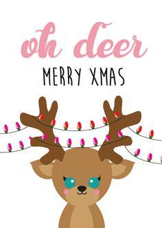 Postkaart Oh Deer kerstkaart Postkaart OH DEERkerstkaart in pastel tinten. Dezekaart is geschiktvooriedereen dievan kerst houdt en van een grapje in de tekst.  ...