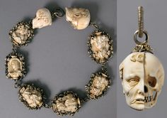 Rosary from 1500-25.  Each bead of the rosary represents the bust of a well-fed burgher or maiden on one side, and a skeleton on the other. The terminals, even more graphically, show the head of a deceased man, with half the image eaten away from decay. Such images served as reminders that life is fleeting and that leading a virtuous life as a faithful Christian is key to salvation.Source: Rosary [German] (17.190.306) | Heilbrunn Timeline of Art History |
