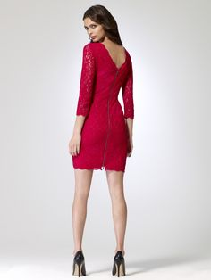 PAINT THE TOWN RED | Back Zip Lace Dress | Caché