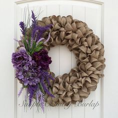 Stunning earth tone burlap wreath accented by SimpleCountryBurlap