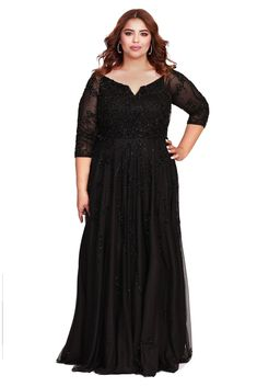 Long Sleeve Embellished Fit To Flare Mother Of The Bride Dress Black 1 – Shail K Dresses Plus Size Prom Dresses, Day Dresses, Plus Size Outfits, Evening Dresses, Wedding Dresses, Beach Dresses, Houndstooth Dress, Boho Outfits, Mother Of The Bride