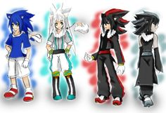 Sonic, Silver, Shadow, and Mephiles as humans •u•