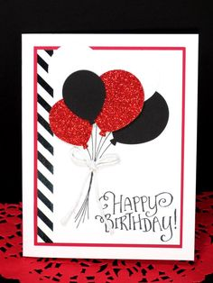 Masculine Birthday Card: Stampin Up Handmade, Masculine, Birthday Balloons, Black and White with Red Accentss