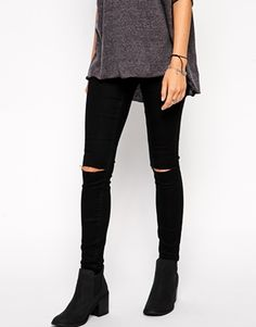 Jameson by Asos Collection - Low Rise Denim Jeggings In Clean Black with Ripped Knees || love these but idk if they have my size •-•
