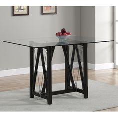 Cable Black Tempered Glass Dining Table