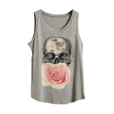 Skull Floral Light Grey Vest ($20) ❤ liked on Polyvore featuring tops, shirts, tank tops, tanks, slim fit shirts, cotton tank tops, cotton vest, cotton shirts and sleeveless shirts