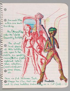 Diamond Dogs sketch Preparatory drawings by David Bowie for an unrealised film set in Hunger City 1974.